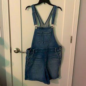 Torrid Overall Shorts, Blue Denim, Size 18